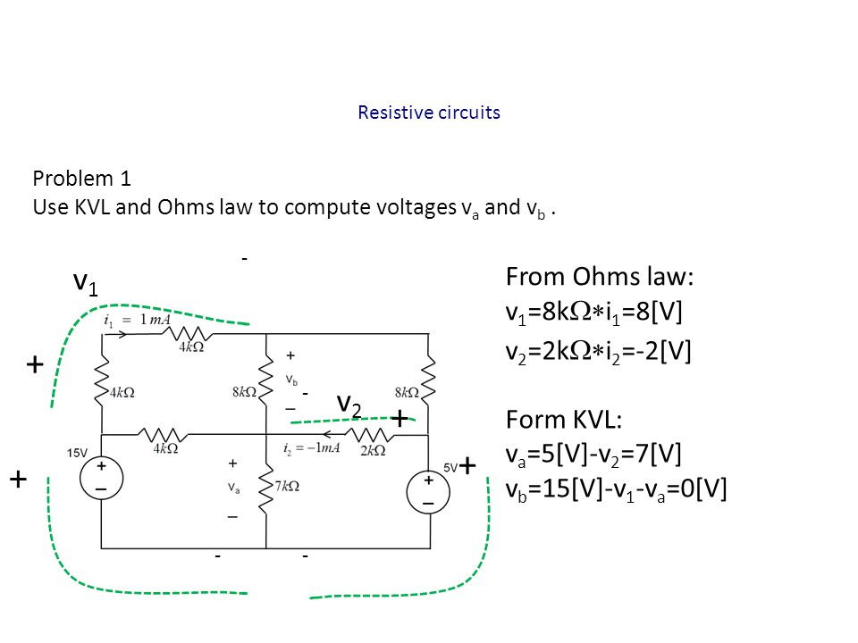 + + + + v1 v2 From Ohms law: v1=8kW*i1=8[V] v2=2kW*i2=-2[V] Form KVL: